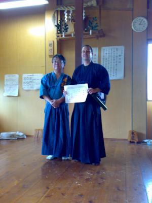 Recibiendo el Nidan de Meifu Shinkage Ryu